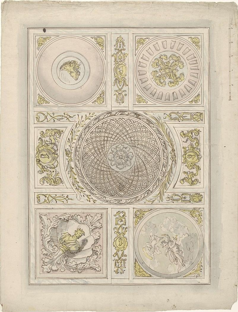 Ontwerp voor een plafondschildering: ornamentale vlakvulling