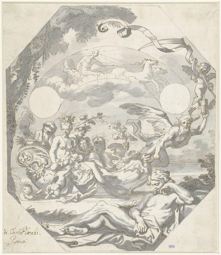 Ontwerp voor een wijzerplaat met een mythologische allegorie