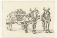 Paard met wagen, met een tweede schets van het paard