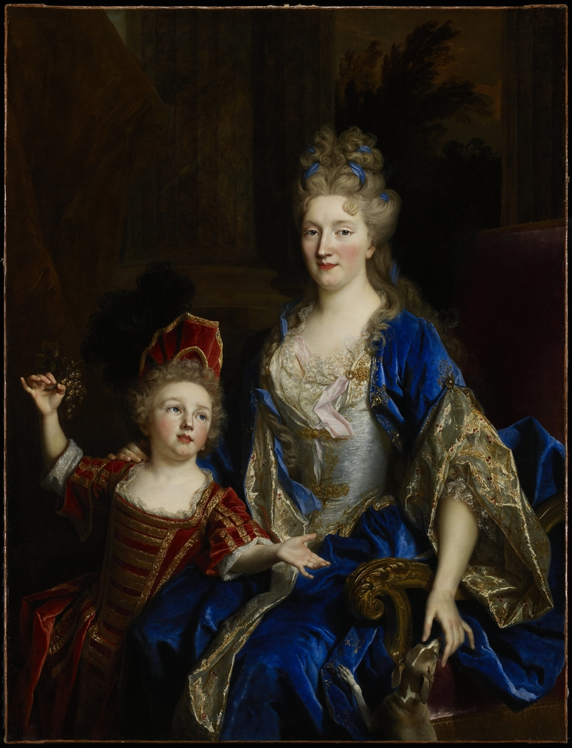 Portrait of Catherine Coustard, Marquise of Castelnau, Wife of Charles-Lonor Aubry  with her Son Lonor