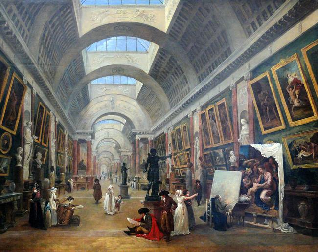 projet d amenagement de la grande galerie du louvre hubert robert 1796 21a2d823 - La Galería Española de Luis Felipe I de Francia en el Louvre