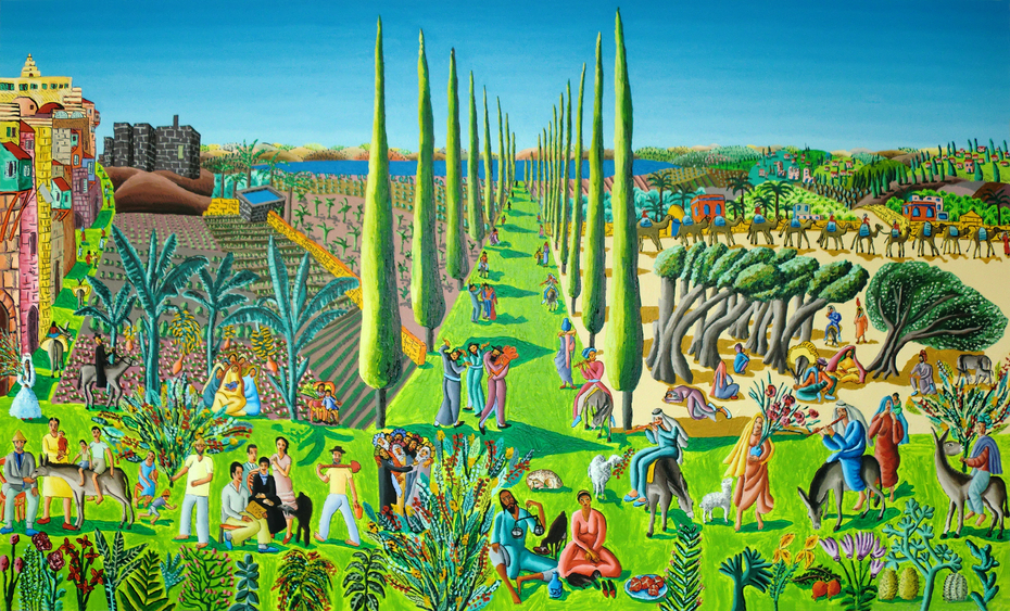 raphael perez after reuven rubin  naive art paintings landscape artworks painting by israeli painter raphael perez