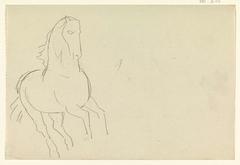 Schetsblad met studie van een paard