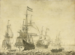 """Seascape with the Dutch Men-of-War including the ""Drenthe"" and the ""Prince Frederick-Henry"""""