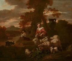 Shepherdess and Shepherd with Sheep and Goats