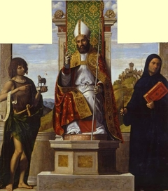 St Lanfranc enthroned between St John the Baptist and St Liberius
