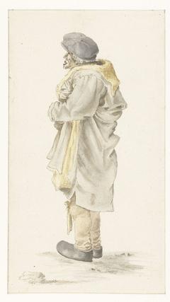 Staande man in een met bont gevoerde jas