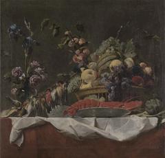 Stilleben mit Früchten, Blumen, Hummer und Krammetsvögeln