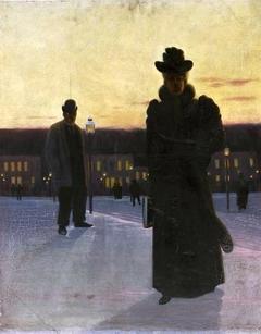 Street scene at dusk.