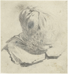 Studieblad met kop van een meisje, naar rechts, van bovenaf gezien