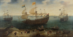 The Amsterdam four-master 'De Hollandse Tuyn' and other ships on their return from Brazil under the command of Paulus van Caerden