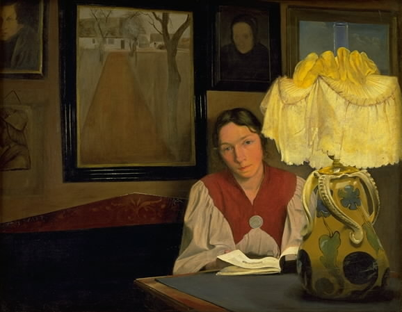 The Artist's Wife by Lamplight