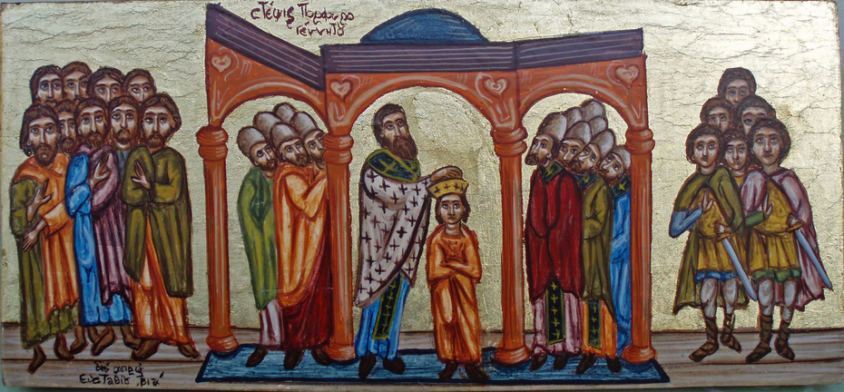 THe coronation of the Byzantine Imperator Konstantine Porphyrogenitus (Copy from miniature)