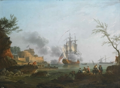 The Entrance to a Harbor with a Ship Firing a Salute