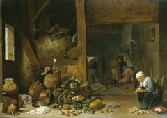The Interior of a Kitchen with an Old Woman Peeling Turnips