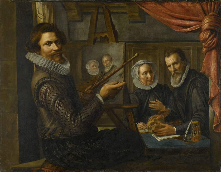 The Painter in his Studio Painting the Portrait of a Married Couple