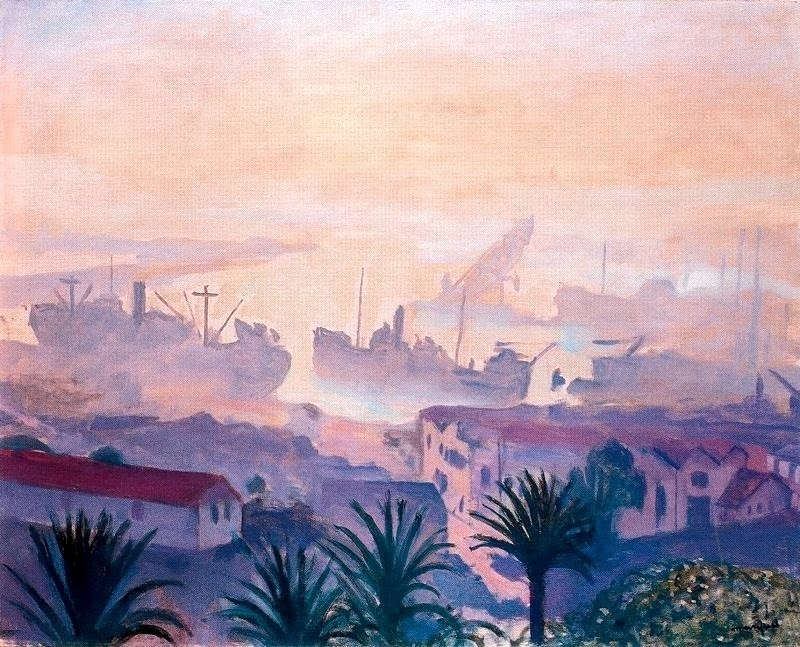 The port of Algiers with haze