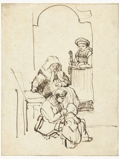 Three Women and a Child at a Door