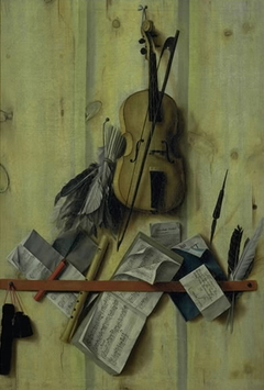 Trompe l'oeil with Violin, Music Book and Recorder