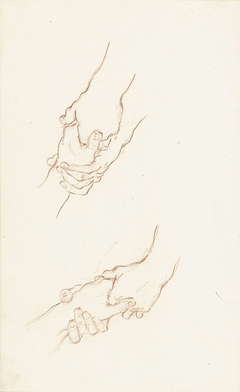 Twee studies van een hand aangevat door andere handen