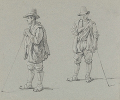 Twee studies van een staande herder