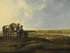 Two Horsemen on a Ridge
