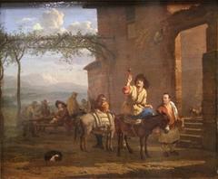 Two Muleteers before an Inn