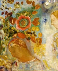 Two Young Girls among Flowers
