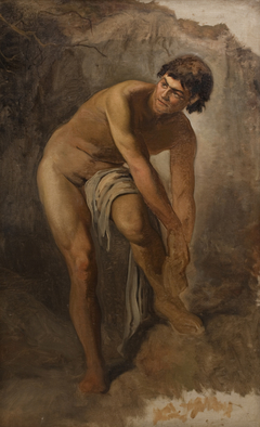 Ung italiensk mandsfigur i klippelandskab