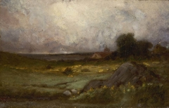 Untitled (landscape with rock in foreground and roof with steeple, lake in background)