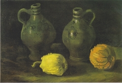 Still life with two jugs and pumpkins