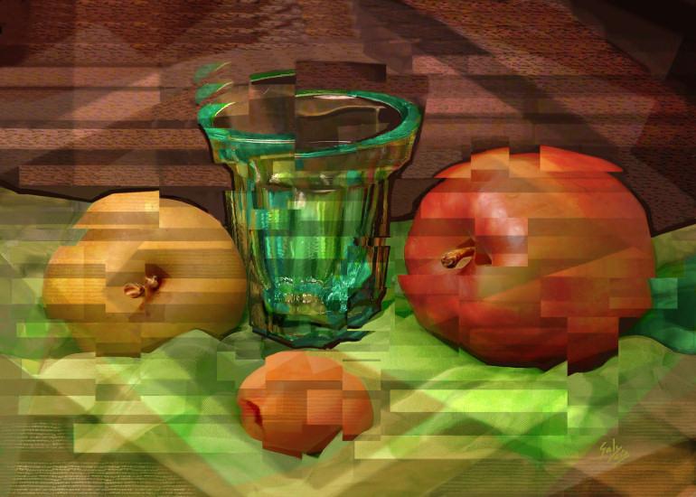 Vaso, Manzanas y Albaricoque