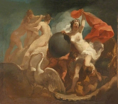 Venus descending from her Swan-drawn Chariot