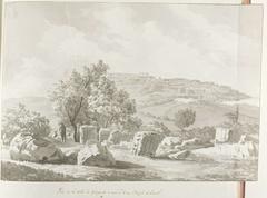 Vergezicht met Agrigento en resten van enorme tempel