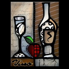 Vino Revisited - Original Abstract painting Modern pop Art Contemporary cubist wine by Fidostudio