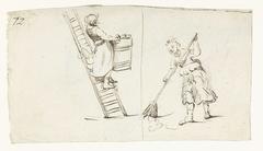 Vrouw op een ladder en een vegende vrouw