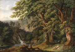 Waldlandschaft mit dem schlafenden, von Tauben behüteten Knaben Horaz