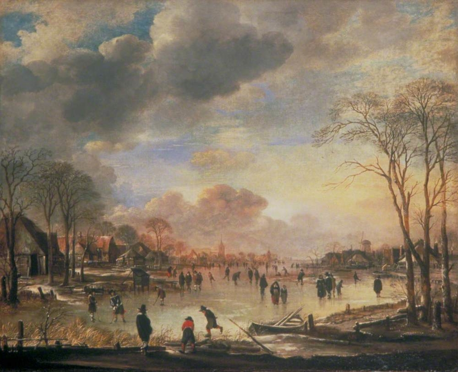 Winter Landscape with Figures on a Frozen Canal
