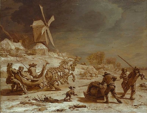 Winter landscape with mill and sleigh