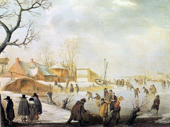 Winter Landscape with Skaters and Stone bridge