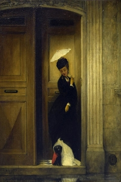 Woman with Dog in Doorway